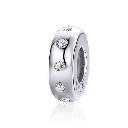 Abalorio para pulsera de plata de ley 925 con cristal minimalista y espaciador compatible con pulseras Pandora Collares