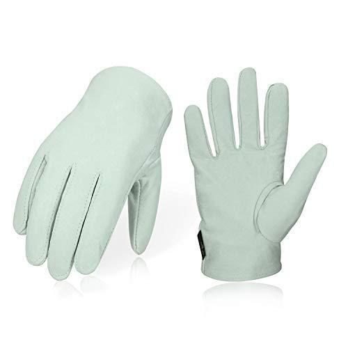 Vgo 3双入 豚革手袋 作業皮手袋 背抜き(Size L,White,PA7335)