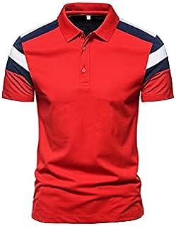 Fbnzmluqdx Tshirt for Men Men's Summer Three-color Stitching Top Tees Patchwork Short-sleeved Lapel T-shirt Casual Slim Ba...