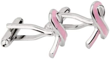 KuierShop(TM) Mens Shirt Cufflinks Wedding Business Suit Breast Cancer Care Cuff Links