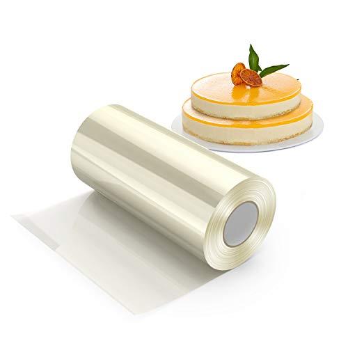 HOMEWINS Bobina di Acetato Rotolo Trasparente Decorazione di Torte PasticceriaCioccolato Mousse Fogli Collari di Torta Rodoide Nastro Cerchia (10 cm × 10 m × 125 Micron)