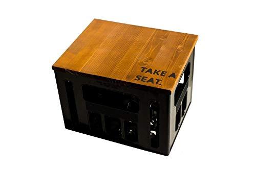 ultiMade Bierkastensitz Holz Sitzauflage für Bierkiste Geschenkidee Geschenk für Männer Biergeschenk Hocker Holz: TAKE A SEAT
