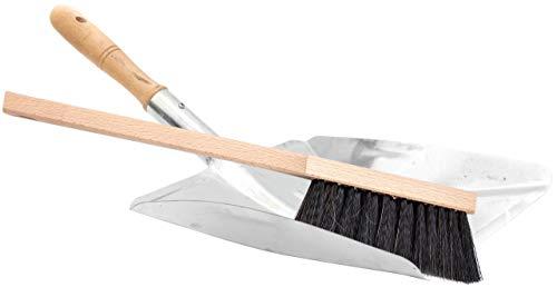 Lantelme Kehrschaufel Handfeger Set robuste Schaufel Metall verzinkt und Holz Handbesen Kehrblech 3160