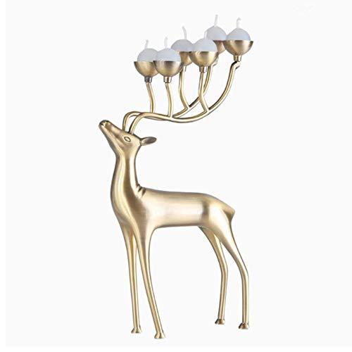 Djkaa Home Decoration Deer Metaal Verzilverd Kaars Houder Roestvrij staal Goud Zilver Deer Kandelaar 17x8x30cm