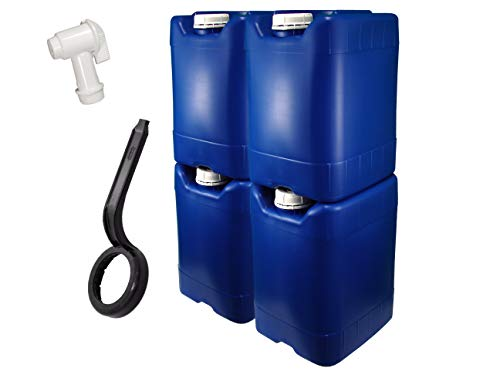 API Kirk Containers 5 Gallon Samson Stackers, Blue, 4 Pack (20 Gallons), Emergency Water Storage Kit - New! - Clean! -...