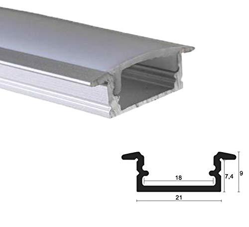 LED Alu Profile Einbauprofil/Flügel-Profil eloxiert für 16mm LED-Streifen (z.B. für Philips Hue Led Strip) mit einklickbarer OPALER Abdeckung 200 cm - EMS
