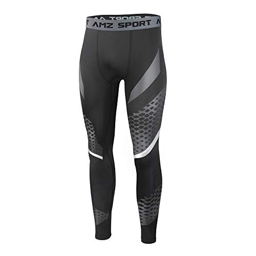 AMZSPORT Mens Sports Compression Leggings Running Training Tights with Mesh Print New Generation, S