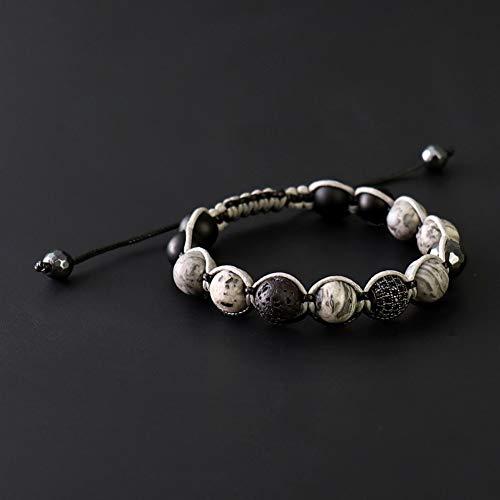 VKGJMHD Handgefertigte Herren Naturstein Perlen Armband Facettierte Hämatit Perlen Wachs Schnur Schwarz Shamballa Perlen Armband