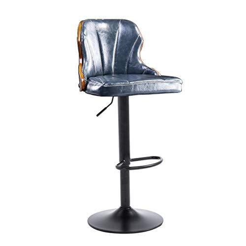 Chaise de Petit Déjeuner Hautes 360 ° Cuisine pivotante Petit-déjeuner Bar Tabouret Pub Chaise de bureau Comptoir Hauteur réglable (60~80cm) Siège de luxe Charge max 130 kg (Couleur : Bleu)