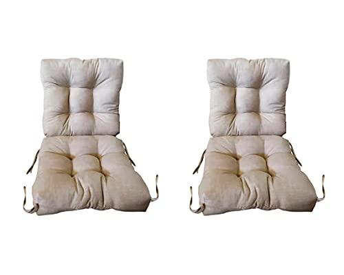 Pack 2 Cojines de Silla con Respaldo para Jardin. 90 x 45 x 10cm. Cojines para sillones de Interior y Exterior Cómodo. Cojines para sillas con Respaldo, (Beige)