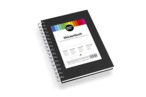 perfect ideaz DIN-A5 Skizzen-Buch 96 Seiten (48 Blatt), professioneller Zeichen-Block, Hard-Cover in schwarz, Spiral-Ring-Buch mit blanko Papier in Weiß, 200 g, leeres Sketch & Black-Book zum Zeichnen