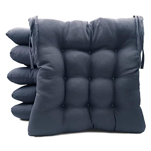Pack de 6 Cojines para Sillas de Exterior e Interior Reversibles 40 x 40 x 7 cm, con Correas de Sujeción (Azul Marino)