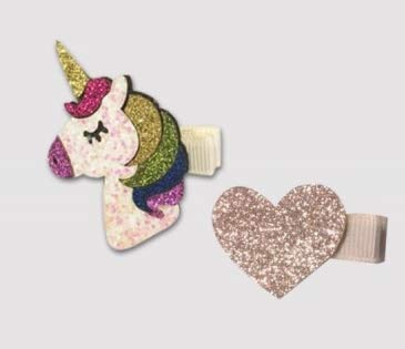 PARTYLANDIA Clips para el pelo de nia con unicornios y flamencos