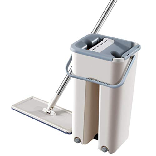 Best Review Of QYLSH Flat Mop Mop Bucket Set, 2in1 Dry, Reusable Flat Mop Pads, is Easy to Self-Twis...