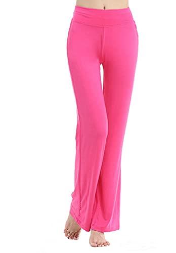 JIYINJIA Pantalones de Yoga para Mujer Pierna Ancha Salón Bootcut Leggings Cintura Alta Pantalones de Fitness Casuales Pantalones de Baile Color sólido