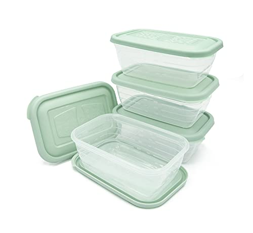 Unishop - Set di 5 contenitori in plastica per alimenti, senza BPA, adatti per microonde, congelatore e lavastoviglie, colori pastello (verde, 500 ml)