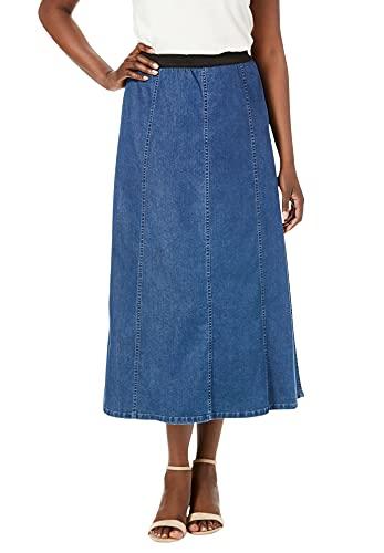 Jessica London Women's Plus Size Jegging Skirt Flared Stretch Denim W/Vertical Seams - 22, Medium Stonewash