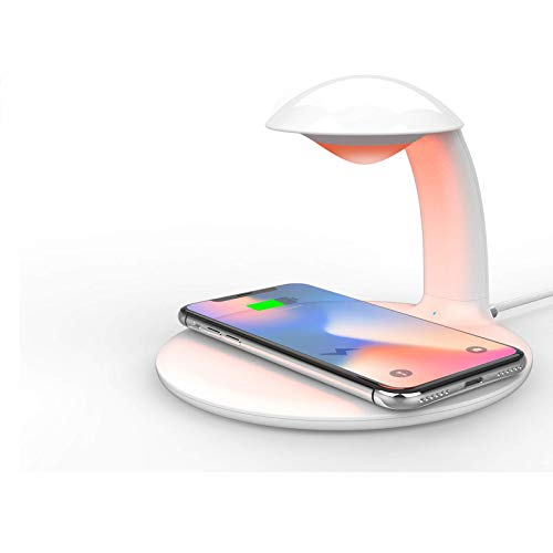 ADSE Wireless Charger with Touch Control Night Light, 10W Max Qi-Certified Fast Charging Dock Station Compatible with iPhone 12/11/XR/XS/X/8, Galaxy S9/S8