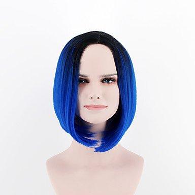 Perruque synthétique pour femme - Courte, moyenne, raide, bleue, raie au milieu, avec racines foncées, coupe carrée, perruque naturelle pour costume
