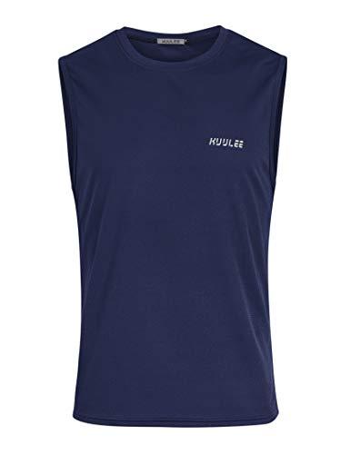 Kuulee Herren Tank Top Unterhemden Laufshirt Ärmellose Sportshirt Funktionswäsche für Gym Running Dunkelblau M