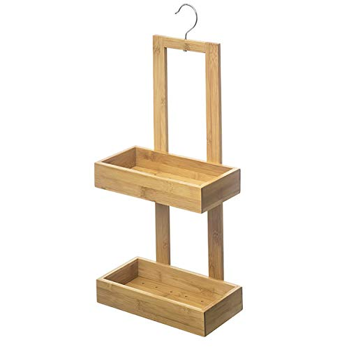 Hogar y Mas Estantería Colgante Baño, Estante de Bambú para Almacenamiento. Organizador Ducha 26x14x61 cm