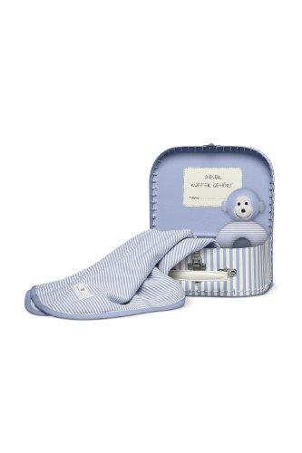 Bellybutton B11723 Koffer Geschenkset: Tuch, Greifling Bär, weiss/hell blau striped