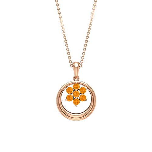 Rosec Jewels 18 quilates oro rosa redonda Orange Zafiro naranja creado en laboratorio
