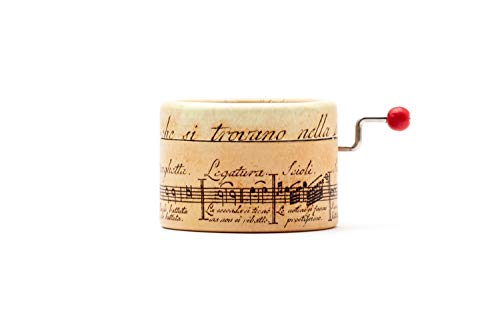 Caja de música La Vie en Rose con mecanismo musical de manivela. Estampado de pentagrama antiguo.
