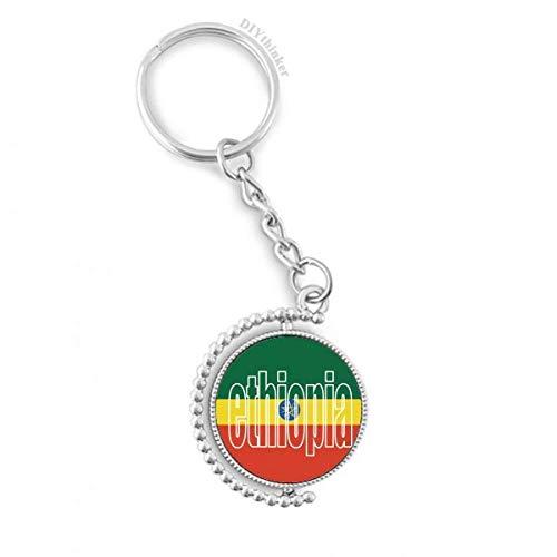 DIYthinker Mannen Ethiopië Land Vlag Naam Draaibare Sleutelhanger Ring Sleutelhouder 1,2 inch x 3,5 inch Multi kleuren