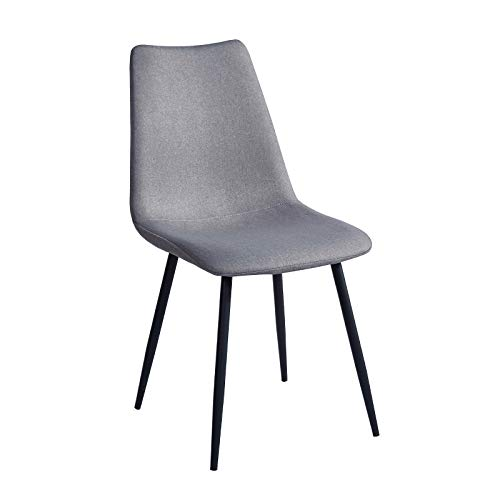 SVITA 2er Set Esszimmerstühle Metallbeine Polsterstuhl Polyester (Hellgrau, Gerade Beine)