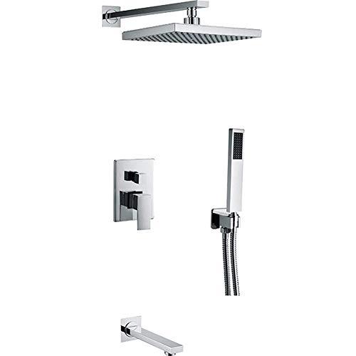 W-SHTAO L-WSWS - Juego de ducha de mano con cabezal de ducha de pared pulido para baño y ducha de tubo de acero inoxidable (tipo de grifo de baño y ducha: grifos de ducha en la pared)