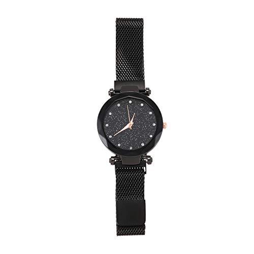 TOOGOO Mesh Damen Uhr Magnet Schnalle Sternenhimmel Geometrische Oberfl?Che L?ssiges Kleid Quarz Armband Uhr Schwarz