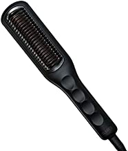 SLEEKE Hair Straightening Brush - Portable Hair Straightener Comb, Anti-Frizz Heating Iron for all Curly Hair Types + type 4c Hair, Static Detangling Electric Hair Tool Black Rose Gold (Black)