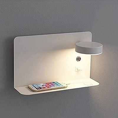 ✔ Base de carga USB: le permite cargar dispositivos móviles sin necesidad de enchufes adicionales. El estante de hierro (14 x 12 cm) puede acomodar teléfonos móviles colocados verticalmente, o colocar plantas, vasos, botellas de agua, papel higiénico...