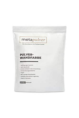 Metapulver Pintura blanca para interiores (2440 gramos mate, equivale a 4 L para 24-40 m2) | pintura en polvo para interior con una gran opacidad (para mezclar con agua) – Fabricado en Alemania.