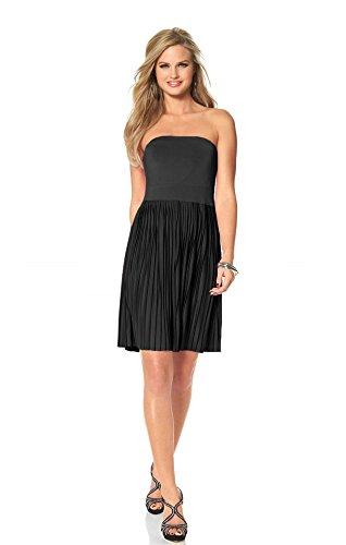 Melrose Damen-Kleid Plisseekleid Schwarz Größe 38