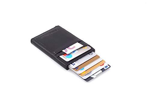 Festland DESIGN Kartenetui mit RFID Blocker bis zu 11 Karten - Geldbeutel Kreditkartenetui Schutzhülle - RFID/NFC Abschirmung Blocking (Schwarz)