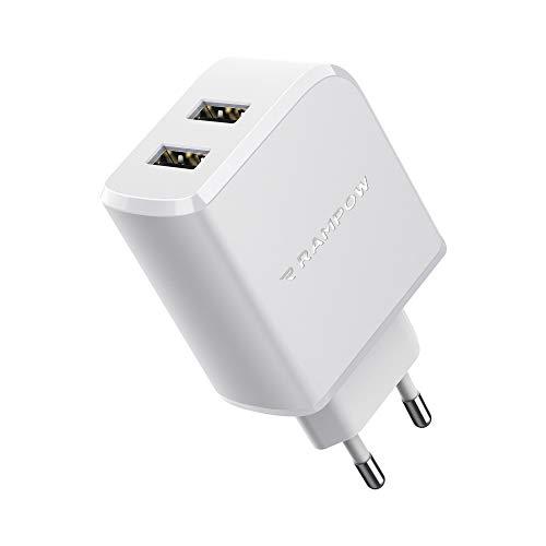 RAMPOW Chargeur Secteur USB 24W 2 Ports [Garantie à Vie] Chargeur USB Prise avec Technologie Power IG pour iPhone 6/7/8/X/XR/XS, iPad Pro/Air, Samsung S10/S9/S8, Xiaomi, LG, Nexus - Blanc