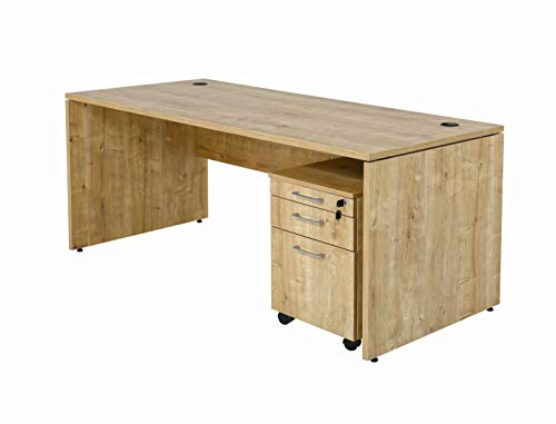 Furni24 Schreibtisch fürs Arbeitszimmer und Home Office - Großer laminierter Computertisch aus Holz, 2 Kabeldurchlässe, Bodengleiter, 2-Personen-Arbeitsplatz - Nuvi 180x80x75 cm/Saphir-Eiche