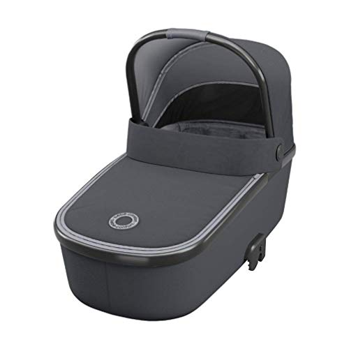 Bébé Confort Oria - Cuna portátil compatible con cochecitos Bébé Confort, ligera y fácil de levantar, 0-12 meses, plegable, Essential Graphite