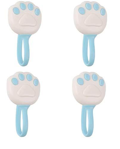 Ousyaah Bettdeckenbezug, 4er Pack Cute Cat Paw Bettbezüge Bettclips, rutschfeste Bettbezüge (Blau)