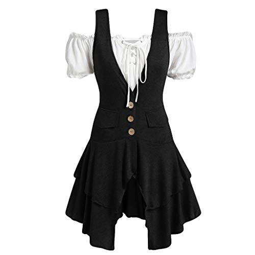 Lazzboy Frauen Plus Größen Mantel Blusen Knopf Taschen überlagertes Trägershirt Set Damen Steampunk Kostüm(Schwarz,2XL)