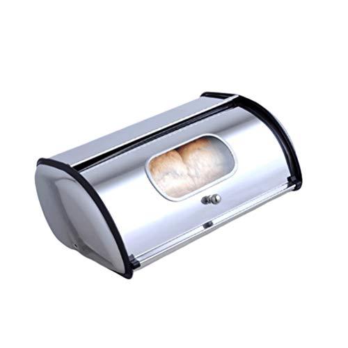 Panera de acero inoxidable para cocina, gran capacidad para pan, panadería, tienda de casa, (S con mango de ventana plateado)