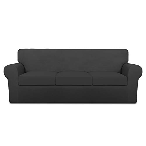 PureFit 4 Pieces Super Stretch Chair Couch Cover for 3 Cushion Slipcover – Spandex Non Slip Soft Sofa Cover for Kids, Pets, Washable Furniture Protector (Sofa, Dark Gray/Dark Gray)
