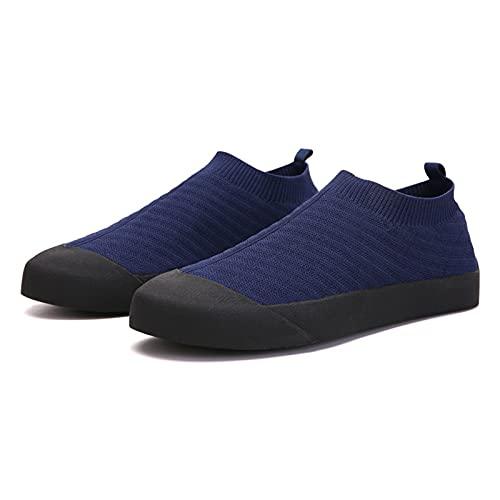 Zapatos de Pareja de Verano,Zapatillas de Deporte de Calcetín de Punto,Zapatos Sin Cordones,Zapatos Deportivos Planos Ligeros 35-46 de Talla Grande,Blue-40