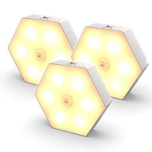 YanBei Nachtlicht mit Bewegungsmelder,3 Stück Bewegungslicht mit Batterie, Auto ON/Off Nachtlicht, LED Sensor Licht, Schrankleuchten, LED Bewegungsmelder für Flur, Schlafzimmer (Warmweißes)