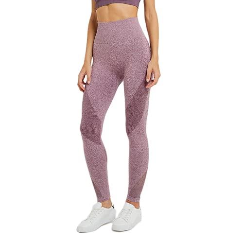 QTJY Pantalones Deportivos sin Costuras para Gimnasio para Mujer, Pantalones Finos de Cintura Alta para Yoga, Pantalones para Correr Que eliminan la Grasa del Abdomen y Las Caderas C S