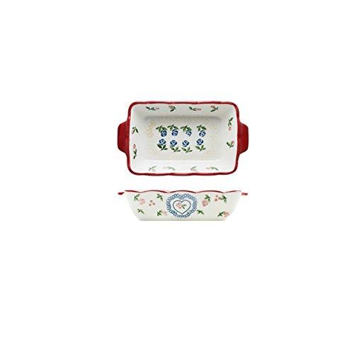 YINGYINGSM Plato de Cena 1pc Rojo Cereza Hornear Placa Platos de la Cena de cerámica de Estilo Europeo de vajilla Bandeja de Horno al Horno Placa de Cena Cocina (Color : 8.8 Inch)