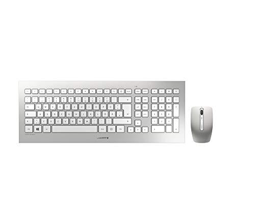 CHERRY DW 8000 - Kabelloses Tastatur-Maus-Set - Deutsches Layout - QWERTZ Tastatur - Silber/Weiß