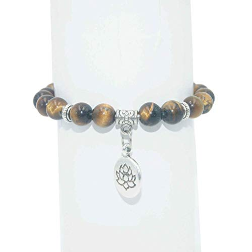 AIMICONG Fossil Armband Herren Naturstein Lotus Perlen Armband Lapislazuli Achate Mala Perlen Armbänder Armreifen Für Frauen Männer Yoga Armband Femme Cc
